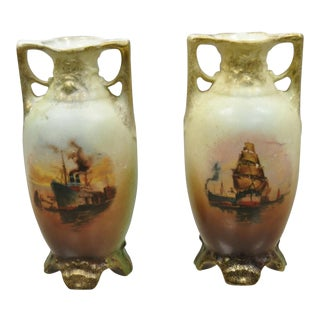 Antique Nippon Style Japan Clipper Ship Bud Vases - a Pair For Sale