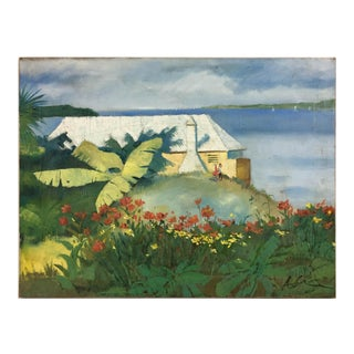 Vintage Impressionism Beach House Painting For Sale