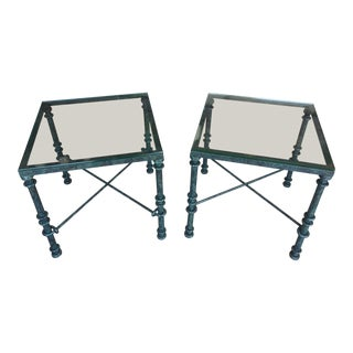 Contemporary Glass Top Wrought Iron Metal End Tables - a Pair