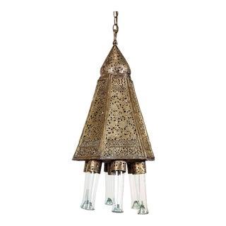 Antique Moorish Brass Syrian Palace Pendant For Sale