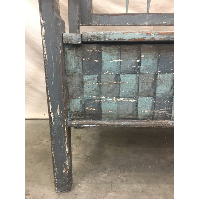 19th C Scandinavian Painted Hall Bench With Storage For Sale - Image 9 of 11