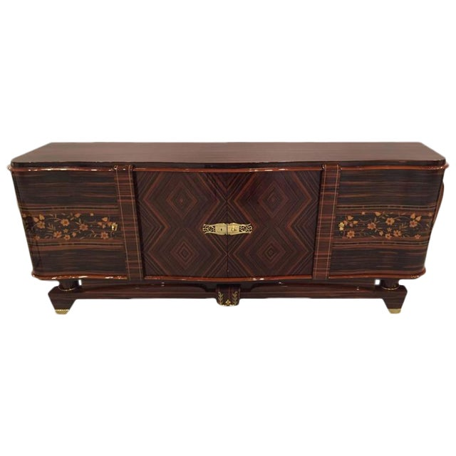 "Circa 1920s French Art Deco Macassar ""Zigzag"" Buffet For Sale"