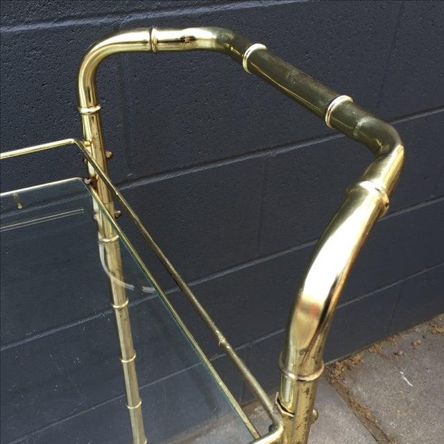 Brass Bar Cart with Bamboo Motif - Image 5 of 5