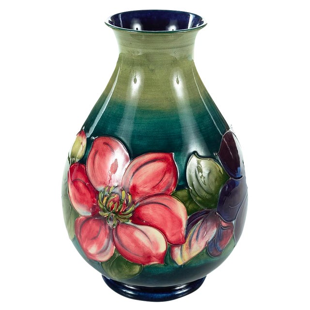 Moorcroft Green & Red Flowers Pottery Art Vase - Image 1 of 7