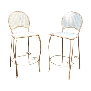 Vintage Style White Wicker Bar Stools For Sale