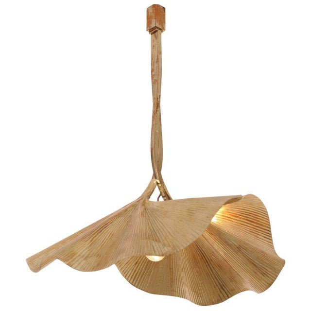 Gold Rare Huge Ginkgo Leaf Brass Chandelier by Tommaso Barbi For Sale - Image 8 of 8