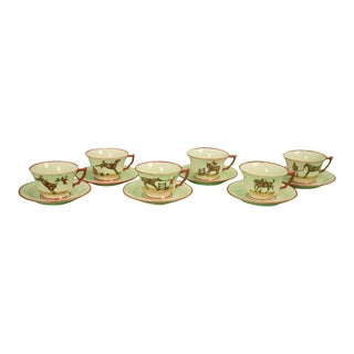Frank Vosmansky for Abercrombie & Fitch Cup & Saucer Foxhunt Set - 12 Piece For Sale
