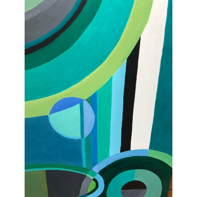 A striking abstract composition with gorgeous color palette of greens, blues, grey, black and white. The unpredictable...