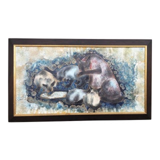 Vintage Mid-Century Sgraffito Siamese Cats Illustration For Sale