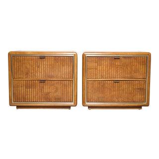 Mid-Century Modern Oak Wood Veneer & Brass Trim Nightstands - a Pair