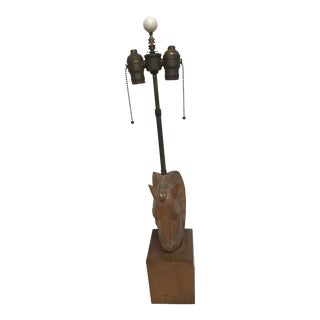 Billy Haines Style Wood Horse Head Table Lamp on Wood Plinth
