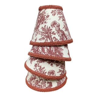 1990s French Style Toile Chandelier Lamp Shades - Set of 4 For Sale