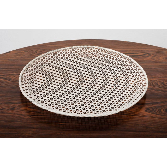 Enamel Round Serving Tray by Mathieu Mategot in Enameled Perforated Steel, France 1950s For Sale - Image 7 of 7