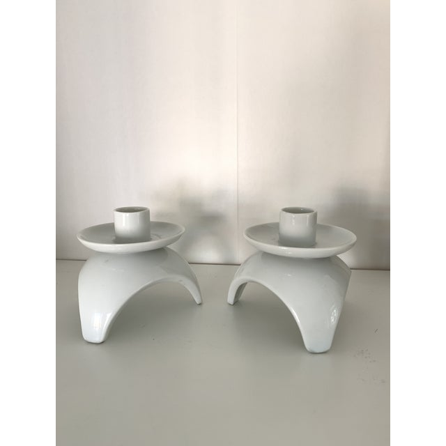 Asian Mid-Century Japanese White Candlesticks- a Pair For Sale - Image 3 of 7