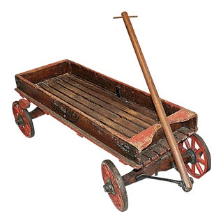 Antique Pull Cart Wagon h.c. White