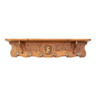 Vintage Early 20th Century Carved Oak Wall Shelf With Hooks For Sale