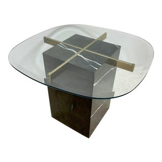 Artedi Black Marble and Brass Side Table With Glass Top For Sale