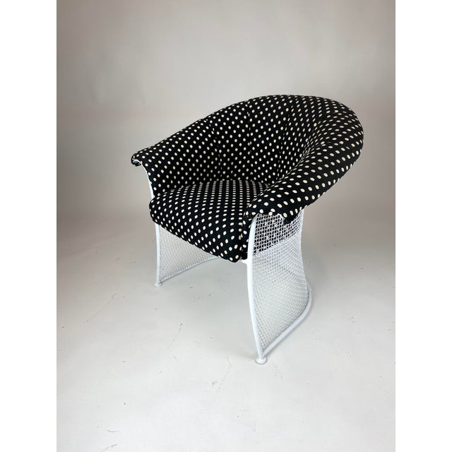Rare 1950s Russell Woodard Black and White Polka Dot Patio Wrought Iron Set For Sale - Image 10 of 13