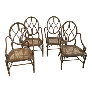 McGuire Chinoiserie Bamboo Arm Chairs - Set of 4