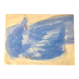 """Vintage Original Robert Cooke Abstract """"Blue Bird"""" Painting For Sale"""