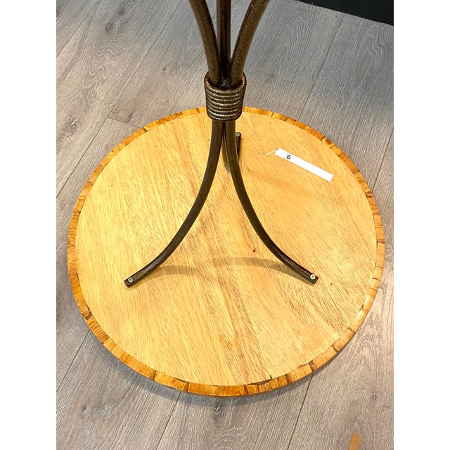 2000 - 2009 Contemporary Small Bistro Style Side Table Wood Inlay Amazing Detail Metal Base For Sale - Image 5 of 7