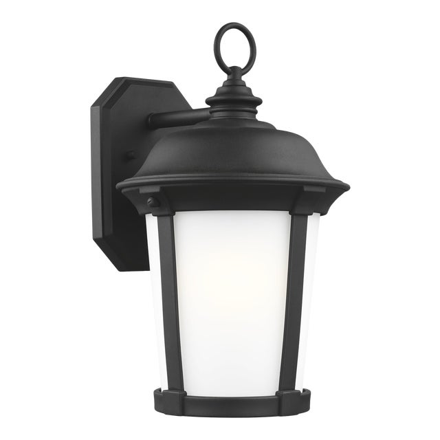 Traditional Black Large One Light Outdoor Wall Lantern Stone For Sale