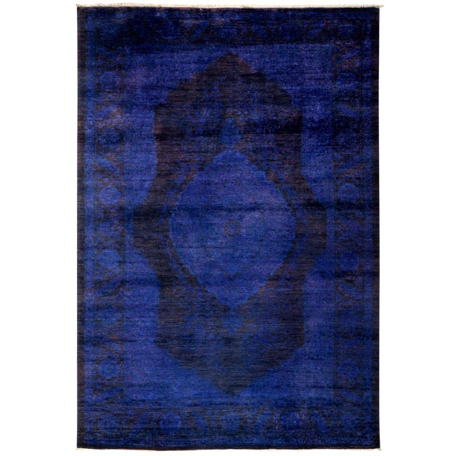 """Overdyed Hand Knotted Area Rug - 4'7"""" x 6'8"""" For Sale"""
