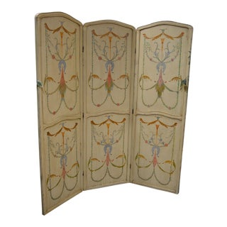 Vintage Section Hand Painted Boho Chic Style Screen For Sale