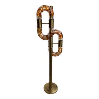 Floor Lamp Brass Murano Glass by Aldo Nason for Mazzega, Italy, 1970s For Sale