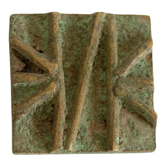 Vintage African Square Oxidized Bronze Coin For Sale