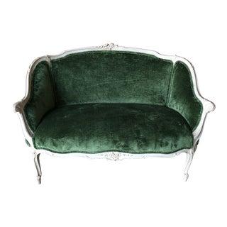 1960s Traditional Green Velvet Settee