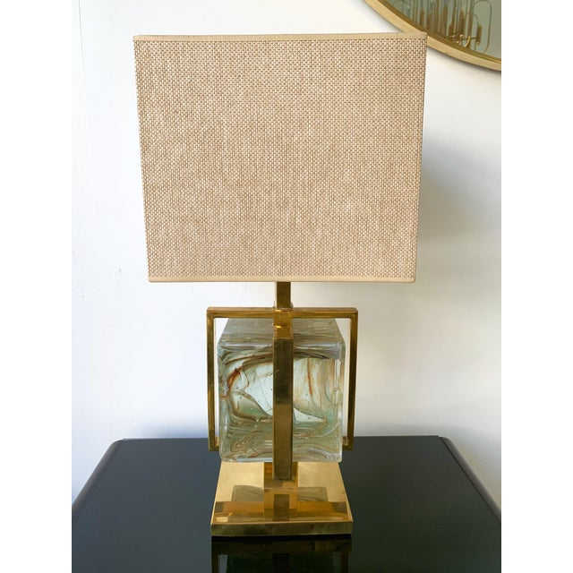 Contemporary Pair of Lamps Brass Cage Murano Glass Cube, Italy For Sale - Image 10 of 11