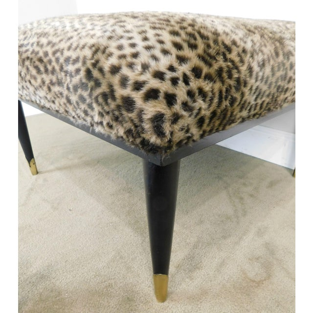 Mid Century Modern Square Cheetah Print Ottoman For Sale - Image 9 of 13