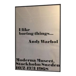 """I Like Boring Things"" Pop Art Print Poster by Andy Warhol For Sale"
