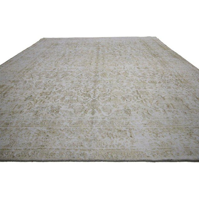 Distressed vintage Turkish rug with Swedish farmhouse style. Traditional style re-purposed to meld with today's modern...