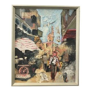 Textural, City Scape With Figure by Artist José Rojas For Sale