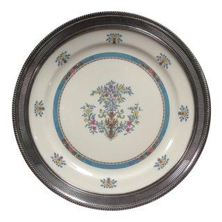 Silver Rimmed Lenox Blue Tree Platter For Sale