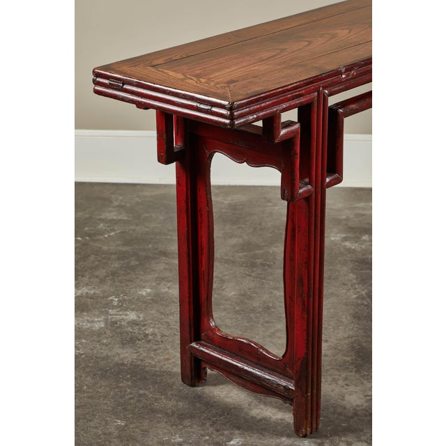 Asian 18th C. Chinese Red Lacquer Elm Altar Table For Sale - Image 3 of 9