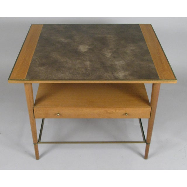 Mid-Century Modern 1950s Mahogany and Brass Table by Paul McCobb For Sale - Image 3 of 7