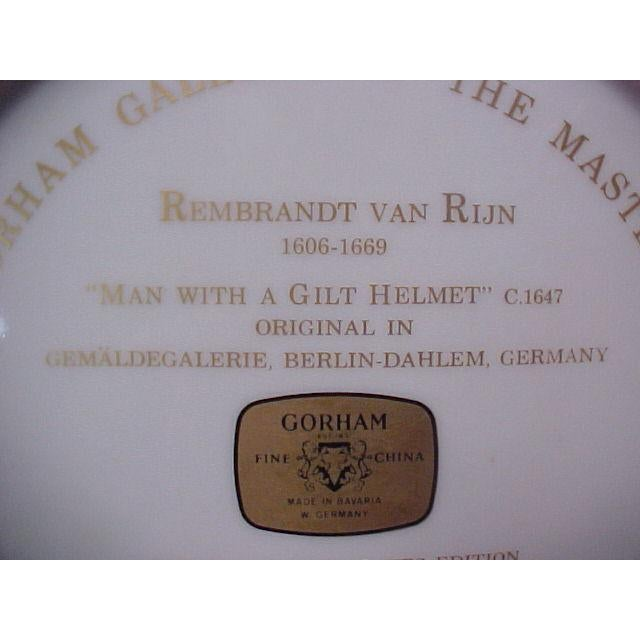 """Gorham Gallery of the Masters Plate """"Man With a Gilt Helmet"""", 1647 For Sale - Image 4 of 6"""