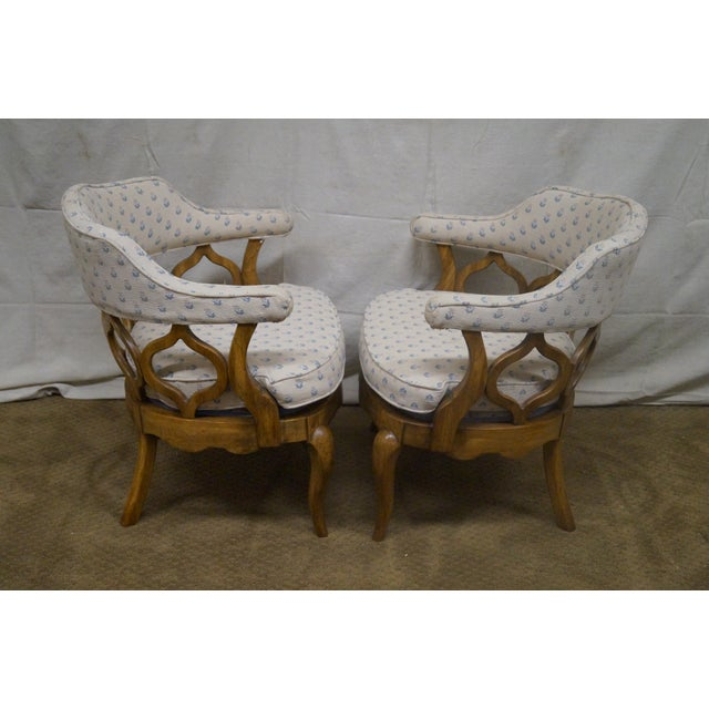 Walnut Barrel Back Club Lounge Chairs - A Pair - Image 3 of 10