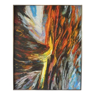 1970s Abstract Oil Painting, Framed For Sale