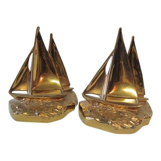 Vintage Philadelphia Metal Co Mid Century Nautical Sailboat Bookends - a Pair For Sale