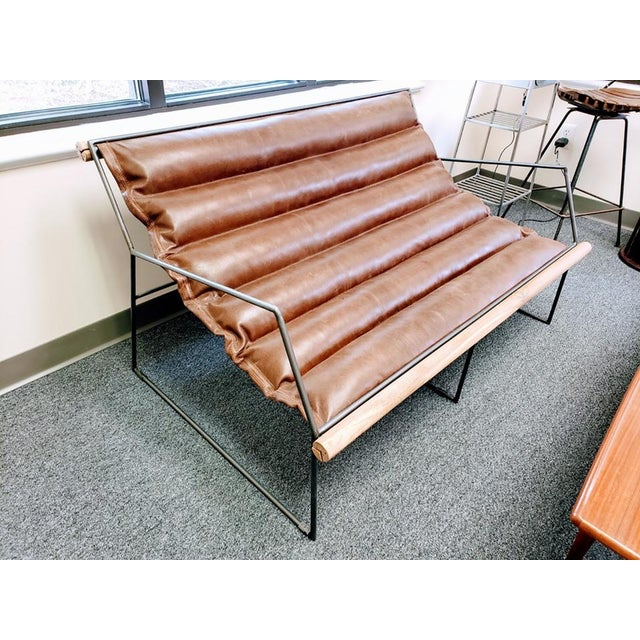 Modern Mid Century Style Style Brown Leather & Metal Sling Loveseat For Sale - Image 12 of 12