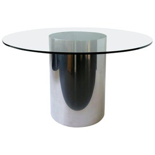 Polish Stainless Steel and Glass Dining Table by Brueton