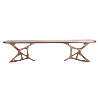 Amorph Custom Anika Console Table, Bronze Finish With White Marble Stone For Sale
