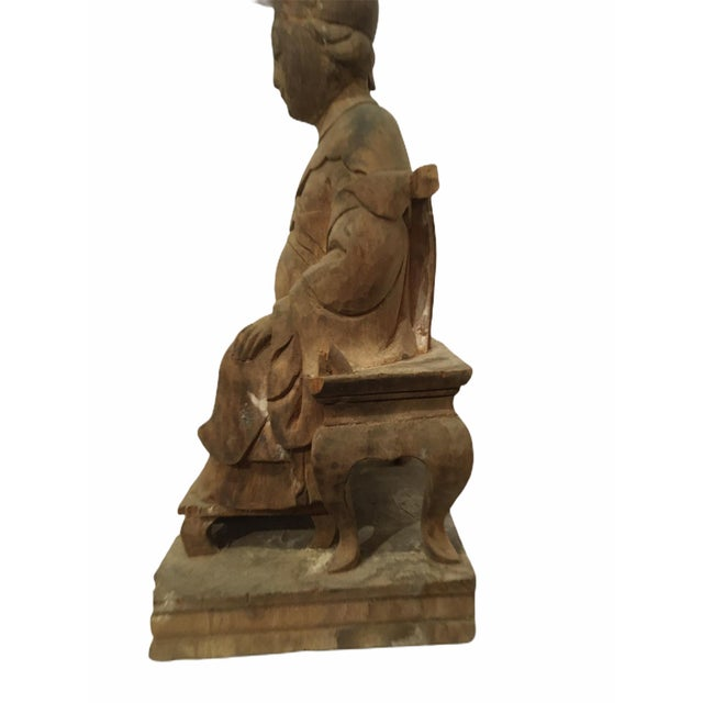 1940s Raw Carved Wood Taiwanese Deity Statue For Sale In San Francisco - Image 6 of 13