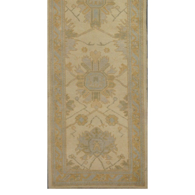 Islamic Turkish Wool Oushak Rug - 3′ × 9′8″ For Sale - Image 3 of 4