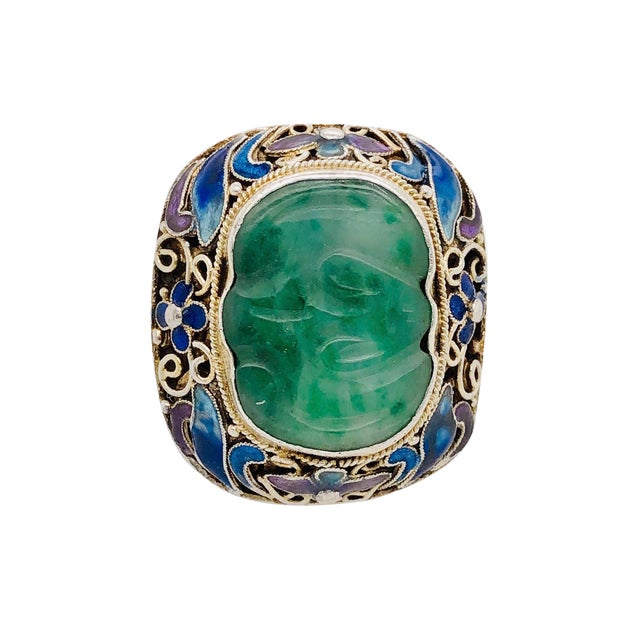 Chinese Silver Jade & Enamel Ring For Sale