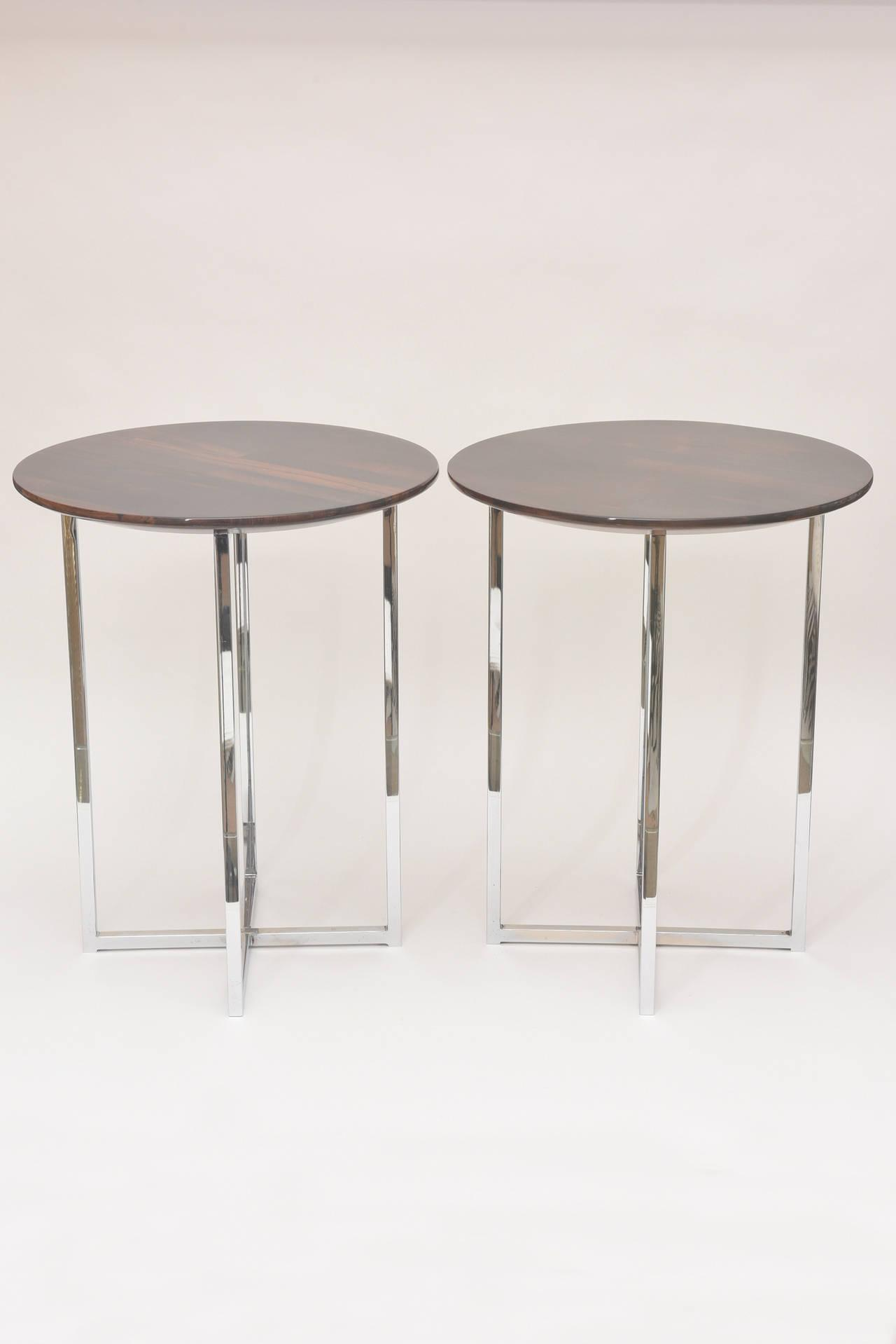 Pair Of Sculptural Milo Baughman Polished Chrome And Exotic Wood Side Tables    Image 4 Of